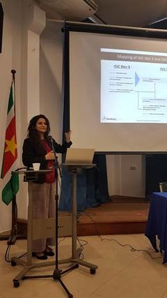 Reetika presenting Nordicity's findings in Suriname.